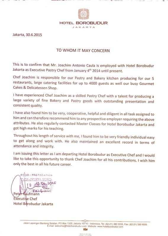 Letter Of Reference Swissmasterchef